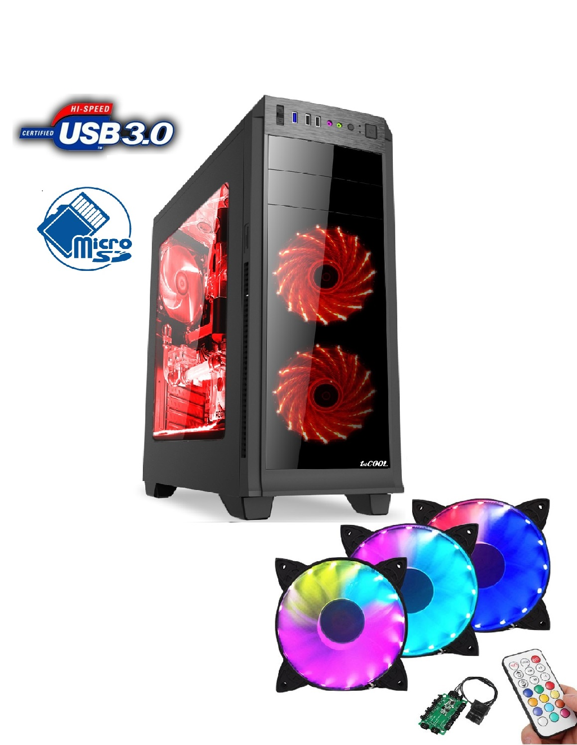 1stCOOL FullTower GAMER 2, AU, card reader, USB3.0 + Set FAN2