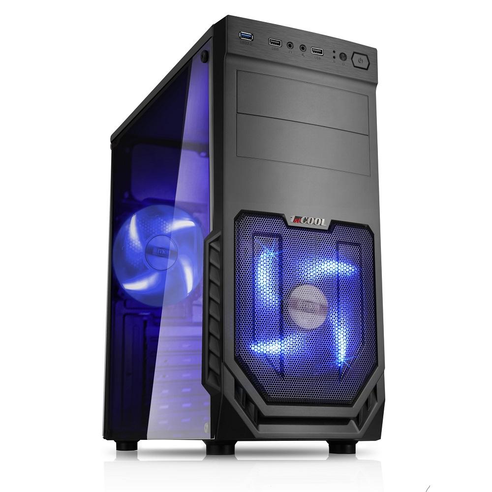 1stCOOL MiddleTower JAZZ 2, AU, USB3.0, Blue FAN, Transparet Side