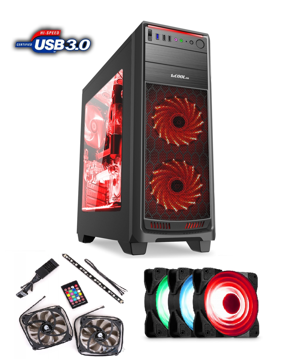 1stCOOL FullTower GAMER 1, AU, USB3.0 + Set FAN1