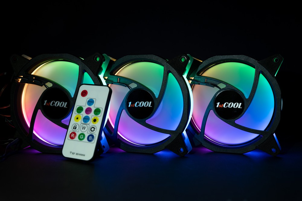 1stCOOL Fan KIT2 EVO, 3*RAINBOW RGB Fan 12cm + Driver + Remote Control