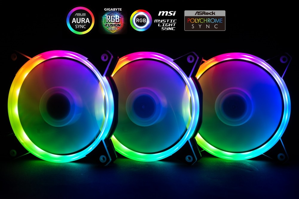 1stCOOL Fan KIT AURA RAINBOW, 3x ARGB fan+řadič+dálk.ovladač+3-pin kabel do MB