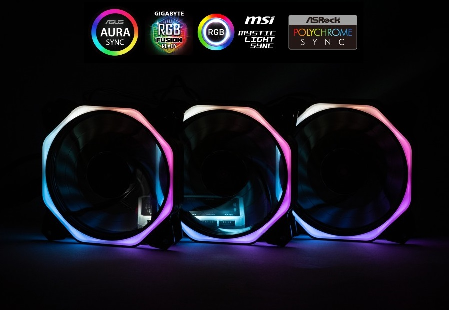 1stCOOL Fan KIT AURA RAINBOW 3, 3x fan+řadič+dálk.ovladač+3-pin kabel do MB
