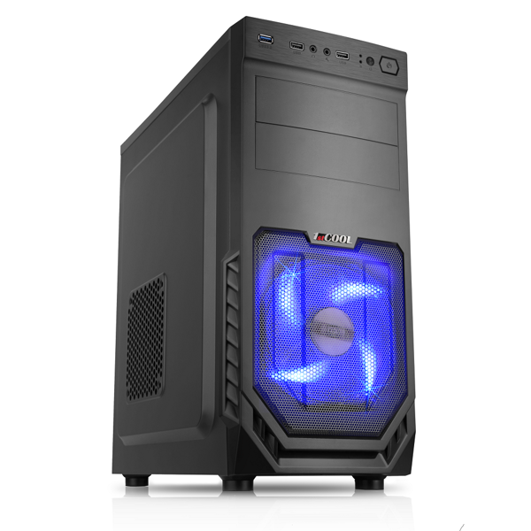 1stCOOL MiddleTower JAZZ 2, AU, USB3.0, Blue FAN